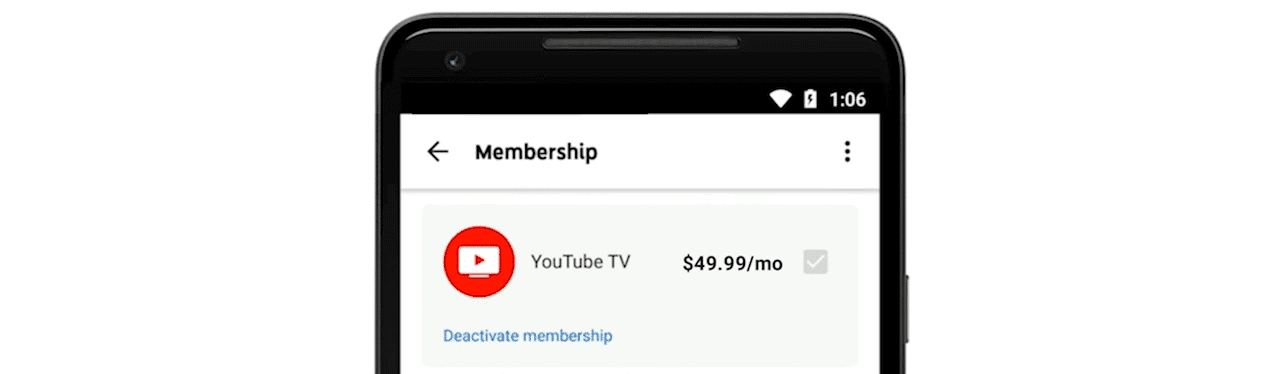 cancel youtube tv membership on android