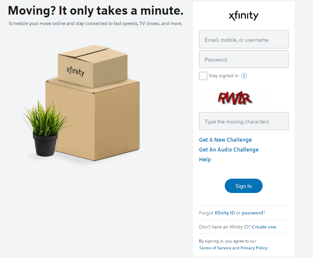 xifinity move service  my account