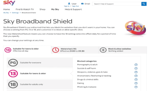 sky broadband shield settings