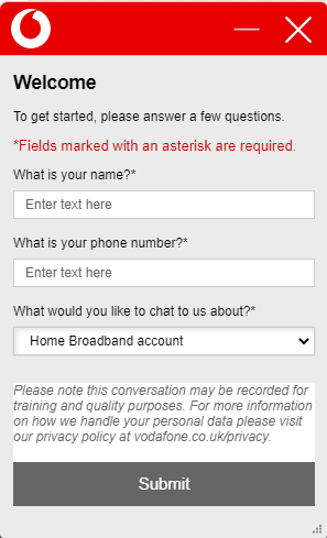 vodafone chat service